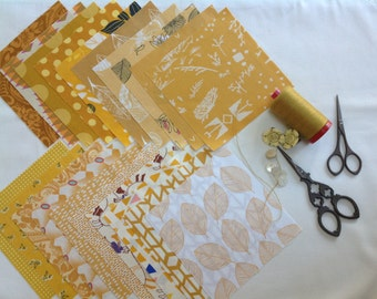 Marvellous gold and mustards, 20 five inch squares for scrappy quilts!