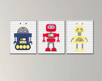 Robots Nursery Yellow Blue and Red Wall Art Print, Baby Boy Robots Wall Art, Boys Bedroom Decor - H1096