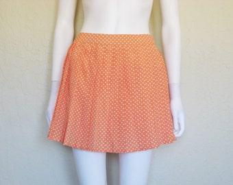Orangesicle Polka Dot Pleated High Waist Mini Skirt