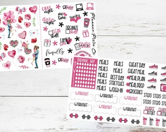"""Deco // Fitness Add Ons // For Use With Erin Condren Life Planner or MAMBI Happy Planner // """"Love Story"""""""