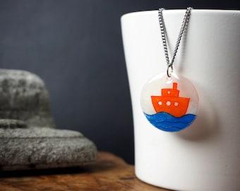 SALE!! Illustrated orange boat Necklace