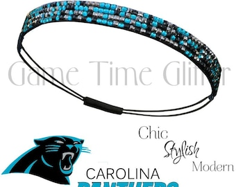 Carolina Panthers Team Color Womens Bling Rhinestone Headbands Glam Up Game Day & Wear with Your Favorite Jersey