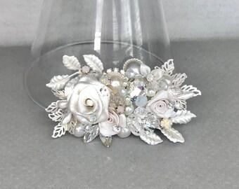 Bridal Hair Accessory- Floral Bridal Comb-Rhinestone & Pearl Hairpiece- Bridal Hairpiece- Wedding Comb- Wedding Hair Accessories-Bridal Comb