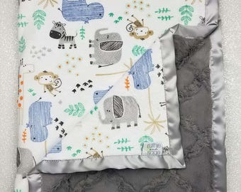 Minky blanket, baby boy, baby girl, jungle blanket, animal blanket, grey blanket, elephant blanket, monkey, baby gift, boy blanket, safari