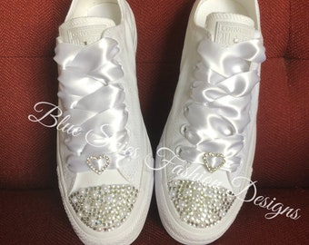 Custom Low Top Bling Converse (Item for Houston Residents only)