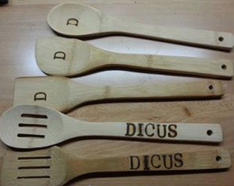 Pyrogrphy 5 piece new Bamboo cooking utensils monogrammed personalized Wood burned Initials Lastname cookware Gift set Kitchen accessories