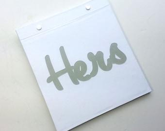 Race Bib Holder - Hers  - Hand-bound Book for Running bibs - Light Gray and White