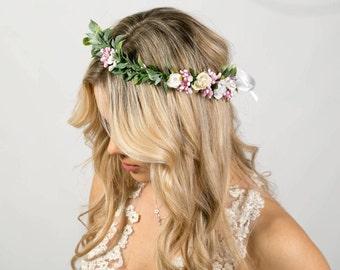 Bridal floral crown wedding crown Rustic crown Bridal flower wreath Green Leaf Crown white Wedding wreath pink Flower Headpiece Bridal crown