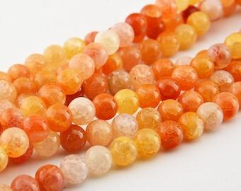 """15""""  Orange   Dragon  Veins  Agate  Round  Beads 10mm , 8mm"""