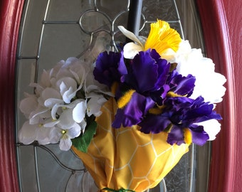 Golden Umbrella With Dutch Iris and Other Flowes to Warm Your Doorstep