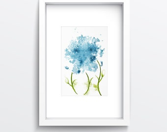 Fine Art Print of my Blue Flowers Abstract Watercolour Painting - available in sizes 7 x 5, 10 x 8, 12 x 10, 14 x 11, 16 x 12 and 20 x 16