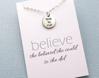 Running Gifts | Fitness Runner Workout Necklace, Inspirational Fitness Jewelry, Marathon Gift for Women, Friend Gift, Gifts for Mom | Y09