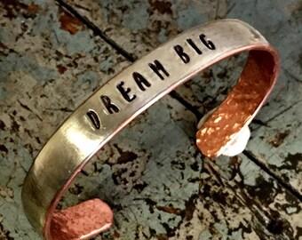 Dream Big Silver Word Bracelet, Silver and Copper Soldered DREAM Bracelet, Inspirational Jewelry, Cuff Bracelet, Kyleemae Designs