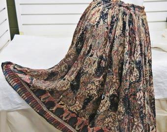 Vintage 1970 Indian Cotton Gauze Hippie Skirt   #593