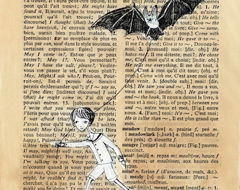 Dictionary Page illustration - Pen and paint, Boy walking Bat, edward gorey, print 8x10