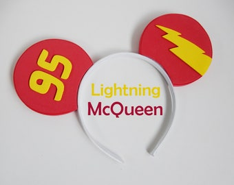 """Lightning McQueen Mouse Ears - """"Ka-Chow!"""" Mickey Ear Headband for Cars Land and Radiator Springs MADE TO ORDER"""