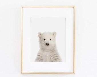 Polar Bear Nursery Art Print   Polar Bear Wall Art   Nursery Printable   Nursery Wall Art   Bear Art Print   Animal Nursery Art  