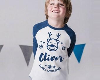 Personalised Christmas Baseball Top
