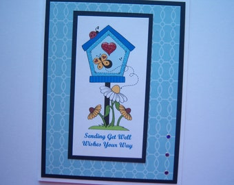 Birdhouse with Flowers Get Well Card