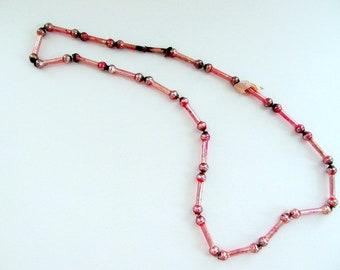 Vintage Pink Mercury Glass Bead Garland/ Vintage Mercury Glass Bead Necklace