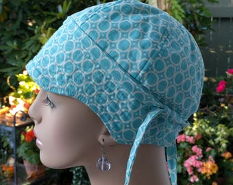 Chemo Hat Soft Cancer Cap for Hair Loss Aqua Blue Cotton Reversible Hat Small/Medium