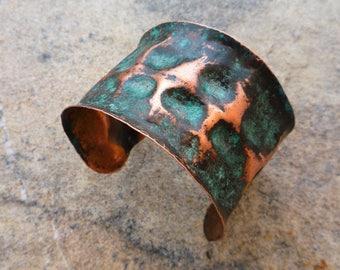 Rustic cuff bracelet, Copper cuff, Patina jewelry, Verdigris bracelet, Boho jewelry, Hammered copper, Metalwork, Ancient bracelet