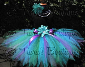 "Mermaid Tutu, Girls Birthday Tutu, Blue Green Purple Tutu, Mermaid Birthday Tutu, Aquamarine, 15"" Pixie Tutu, Girls Tutu, Flower Girl Tutu"