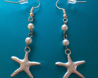 Silver Plated Starfish and glass pearl earrings.