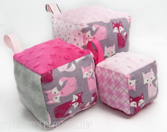 Soft Block Toys Set of 3 - Your choice of fabrics and theme - Made to Order
