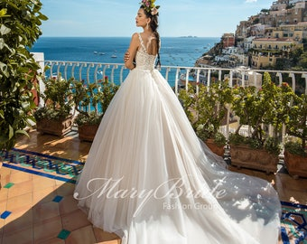 Sweetheart Illusion Strapless Wedding Gown