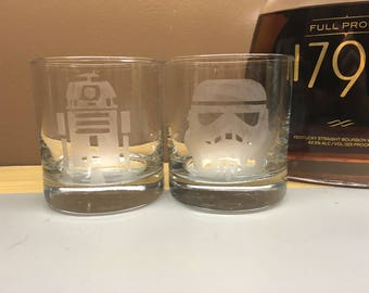 Star Wars Etched Whiskey Rocks and  Wine Set of Two Glasses