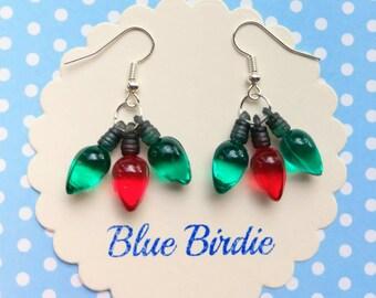 Green and red christmas tree light earrings Christmas jewelry Christmas earrings holiday jewelry dangle earrings Christmas gifts