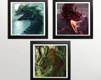 Dragon Gift - Print Set of 3 - Dragon Lover Gift - Fantasy Print Set - Dragon Wall Art - Dragon Nursery Art - Dragon Picture - Elements