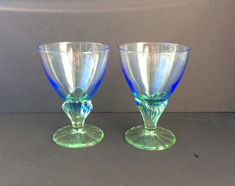 Blue and Green Art Nouveau Style Ombré Glasses