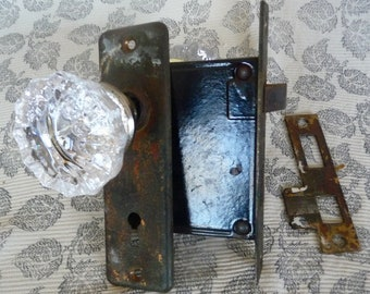 Vintage Cut Glass Doorknob Set with Brass Backplates and Hardware