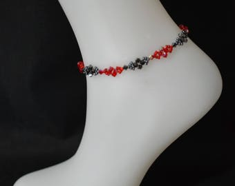Swarovski crystal siam crystal anklet and 2x hematite red and red