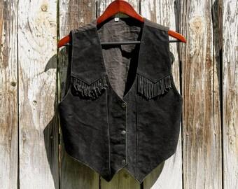 Vintage black suede fringe western vest