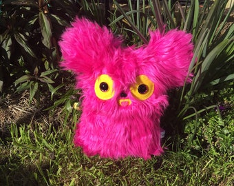 Pink Teddy Bear Monster Plush Toy Kawaii Plushie Alien Toys Creature Weird Stuffed Animal OOAK Art Doll