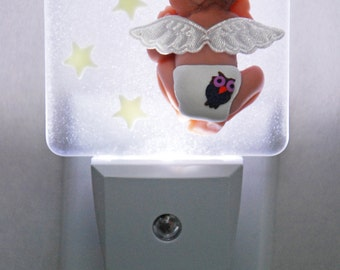 Veilleuse bébé, décoration chambre d'enfant, cadeau shower de bébé, cadeau de naissance, nouveau-né, veilleuse ange, RÉALISÉE SUR COMMANDE
