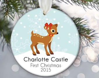 Baby's First Christmas Ornament, Baby Ornament, Baby First Ornament, Baby Girl Gift, Baby Girl Christmas Gift, Fawn Deer Ornament  OR293