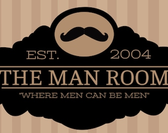 Brown Stripes Man Cave Banner with Mustache