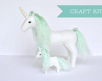 Felt Unicorn Sewing Kit * Mama & Baby Unicorn Craft Kit * Unicorn Lovers and Crafters Gift. DIY Hand Sewing Felt Craft.