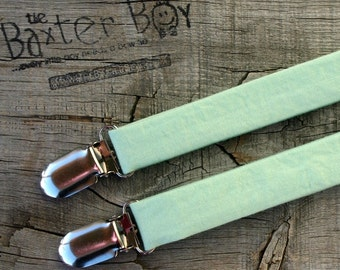 Solid Mint Green little boy matching suspenders - photo prop, wedding, ring bearer, accessory