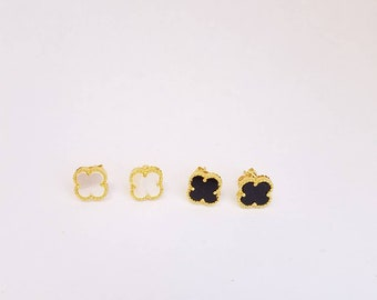 Quatrefoil lucky clover Lily flower Stud earrings black or white yellow gold plated stud mop clover studs