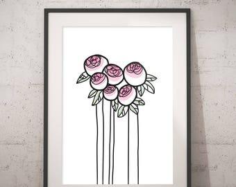 Peony in Bud - INSTANT DOWNLOAD - Illustration Art, Pink, Printable Art, Minimalist, Illustration Artwork, Digital Art, Dotter, Vintage