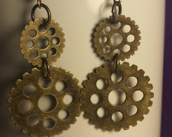 Double Gear, Round Hole, Open Center, Steampunk Earrings, Handmade