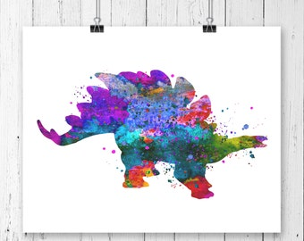 Stegosaurus Dinosaur #1 Watercolor  Fine  Art Print, Poster, Wall Art, Home Decor, Kids Wall Art, Play Room Wall Art, Wall Decor
