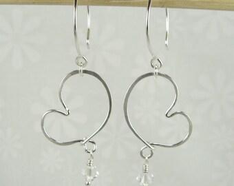 CHERISH HEART EARRINGS silver heart shaped earrings with crystal