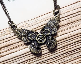 Clockwork Butterfly Necklace