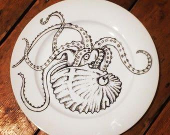 Argonaut octopus hand painted plate unique gift